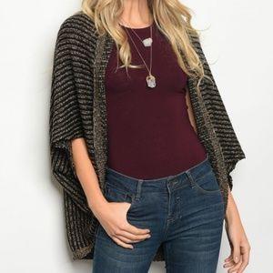 Sweaters - BLACK TAUPE CARDIGAN